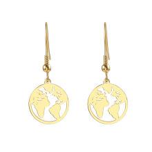 18K gold plated Africa map shape drop earrings for women