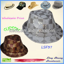 Popular Sequins Cotton/Polyester Fedora Hat chinese hat ,LSF37