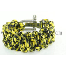 """novo estilo amarelo e preto 8 """"comprimento 550 pulseira paracord"""