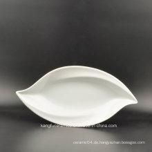 Blattform Weiße Farbe Glasierte Porzellanplatte