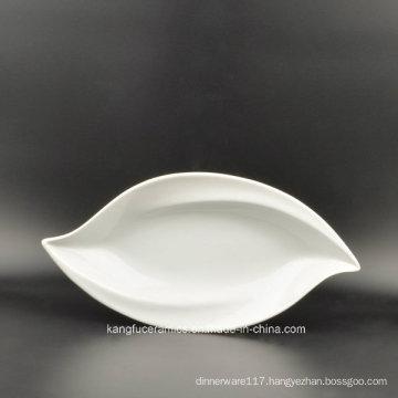 Leaf Shape White Color Glazed Porcelain Plate