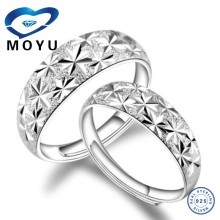 All size platinum plated sterling silver spinner couple wedding /engagement ring offer engraved service