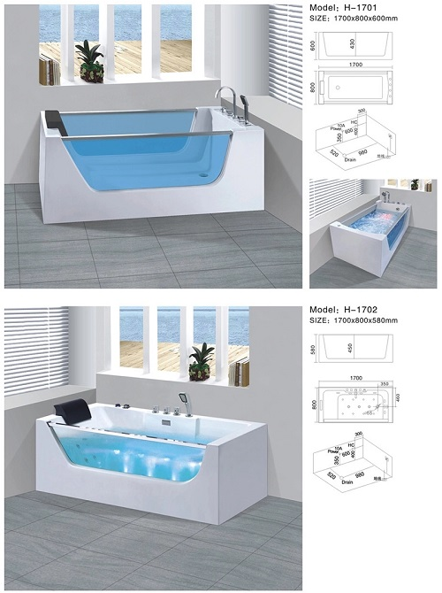 Free Standing Bathroom Massage Whirlpool Bath Tub