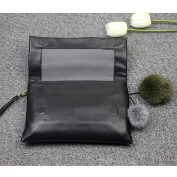 Eleganz Lady Evening Black PU Clutch Bag