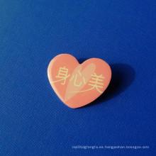 Pin de solapa de impresión offset, insignia de forma de corazón (GZHY-OP-016)
