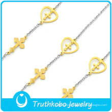 Wholesale Two Tone Gold Silver Christ Religious Cross Stainless Steel Heart Charm Chain Bracelet