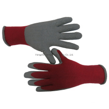 Red T/C Shell with Grey Latex Foam Coated Work Labor Gloves