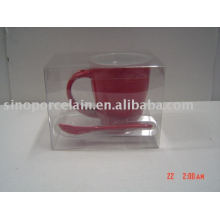 8oz top round square bottom red mug with spoon for BS09019