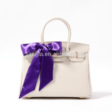 Fashion latest poly satin solid color handbag with scarf