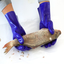 Anti Slip Waterproof Cotton Interlock Liner Long Cuff PVC Sandy Coated Industrial fishing gloves