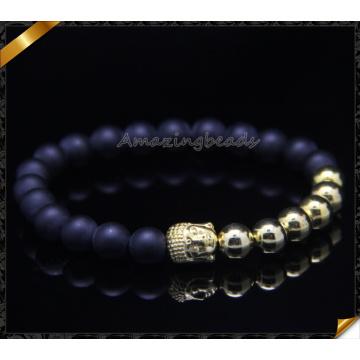 Ouro banhado pulseiras de ágata matte ágata pedra pulseiras (CB0112)