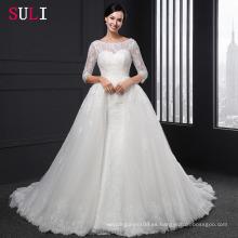 SL-004 Vestido de Baile Backless O-cuello de encaje 1/2 mangas Appliques vestido de novia