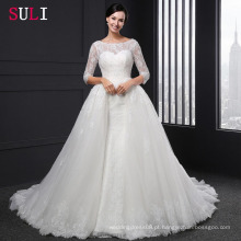 SL-004 Ball Gown Backless O-neck Lace 1/2 Sleeve Appliques Vestido de casamento