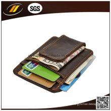 Estojo de couro barato para cartão de identificação, suporte de couro para cartão de crédito