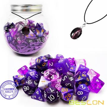 Bescon 35pcs Polyhedral RPG Dice Amethysts Set, DND Role Playing Game Dice Purple Sets 5X7pcs