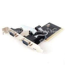 PCI para placa RS-232 PCI para 2 adaptador de placa de porta serial COM RS232 série I / O