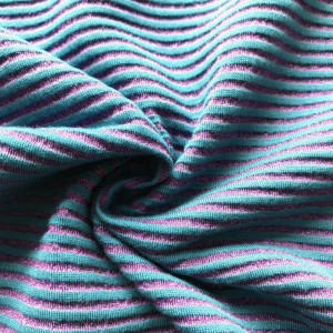 Purple lurex shinny metallic yarn knitting stripe fabric