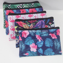 Custom logo printed neoprene pencil zipper pouch