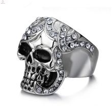 Punk Statement Jewelry Crystal Cool Stainless Steel Finger Skull Head Ring