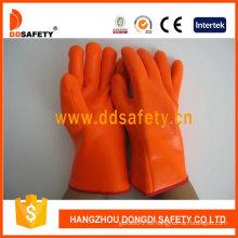 Guante de espuma de PVC naranja Guante de seguridad resistente a productos químicos -Dpv313