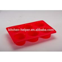 Custom Design FDA LFGB Padrão Redonda Resistente ao calor Non-toxic não-Stick Kitchen Cupcake Bakeware Food Grade Silicone Muffin Pan