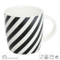 Tasse en céramique de 12 oz avec décalcomanie Black Strip Design
