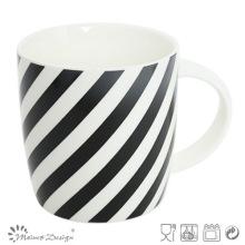 12oz Ceramic Mug with Decal Black Strip Design