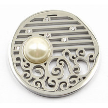 Silver Coin Plate avec Pearl Fit 33mm Lockets