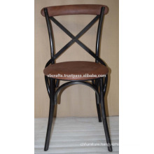 industrial Leather Cross Back Chair