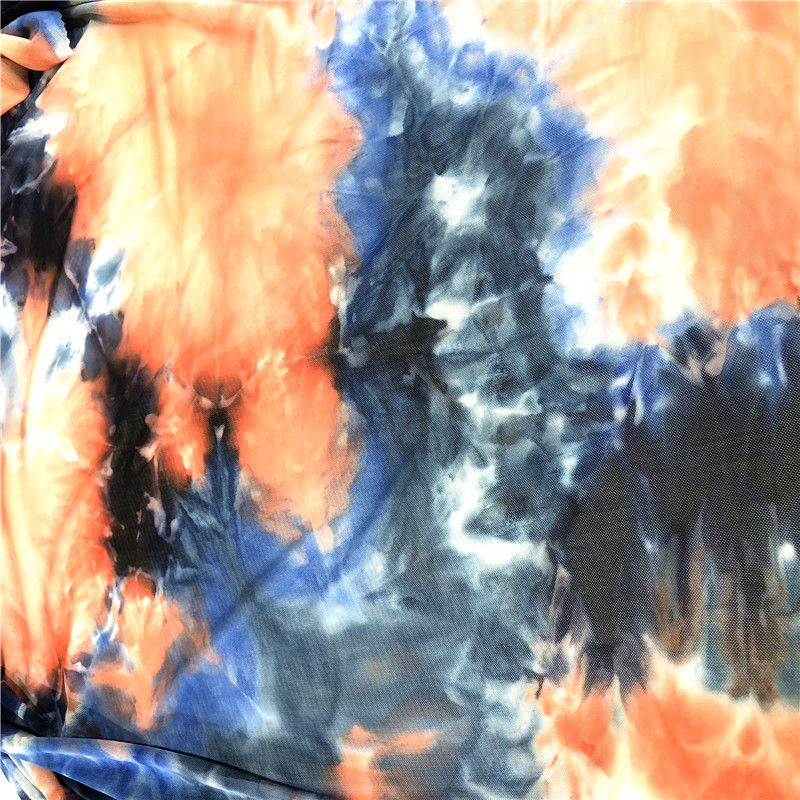 100% polyester mesh tie dyed