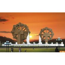waterwheel fountain sculpture