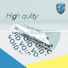 Logotipo personalizado adesivo pemanent totoal transferência rasgada etiqueta de segurança inválida com CE pass