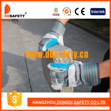 Reforzado de cuero azul de rayas de palma de algodón Back Caucho cauchutado Mit guarnición Ab Grado guante de trabajo de seguridad (DLC327) CE