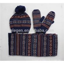 Niñas / niños Invierno / Otoño fábrica de China Acrílico Sombreros de punto conjuntos de bufandas y guantes