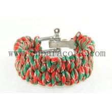 pulseira de fivela ajustável camo vermelho e verde