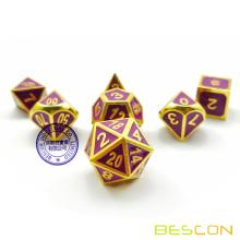 Bescon Deluxe Golden and Purple Enamel Solid Metal Polyhedral Role Playing RPG Game Dice Set of 7 for Dungeons & Dragons