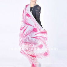Laies' new twill printed feather & waterlily 100% pashmina cashmere shawl