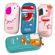wholesale student school cotton zipper pencil pouch bag girls pink color children eco friendly canvas pen pencil bag
