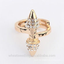 luxury simple cone crystal gold silver ring