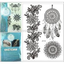 Flas imperméable à l'eau tatouage en dentelle temporaire Black Women Henna j013A Bracelet en dentelle Bracelet bijoux Tattoo Stick