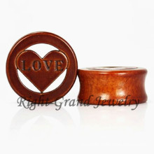 Cross Natural Wood Plug Organic Wood Ear Plugs Body Jewelry