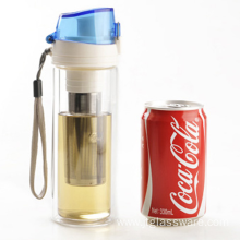 Color Lid Double Wall Glass Water Bottle
