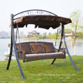 Hot selling metal rattan swing chair 3-seater for adults with canopy garden furniture