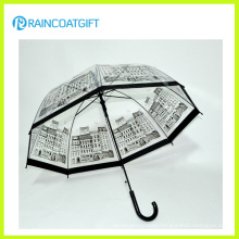 Custom Brand Logo Printed Straight Transparent PVC Umbrella