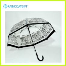 Пользовательский логотип Марка напечатана прямо прозрачный ПВХ зонтик