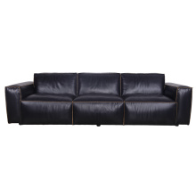 Retro Style Black Italian Leather Big Size Sofa