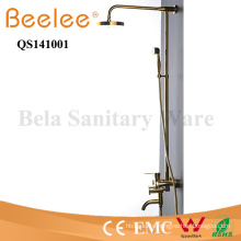 Luxuray Antique Copper Golden 3 Functions Dule Handle Bathroom Rainfall Shower Faucet with Divertor