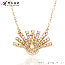 Pavo real del encanto de la moda haciendo alarde de su cola Collar de joyas chapado en oro -42821