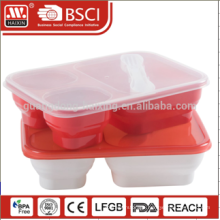 Food grade level PP material 3-compartment Plastic Food Storage Containers