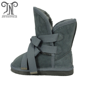 Boys Childrens Grey Fur Boots with Double Laces
